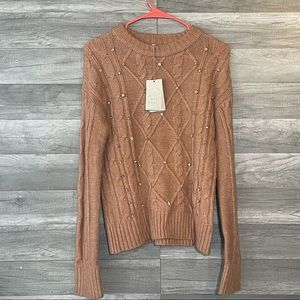 A New Day Sweater Tan Embroidered Pullover